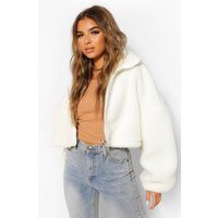 Womens Petite Teddy Faux Fur Oversized Bomber Jacket - White