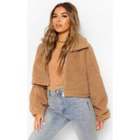 Womens Petite Teddy Faux Fur Oversized Bomber Jacket - Beige