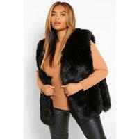Womens Plus Faux Fur Panelled Gilet - Black - 20, Black