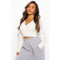 Womens Petite Crop Knitted Button Cardigan - White - M, White