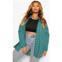 Womens Plus Oversized Brushed Check Shirt - Green - 22, Green