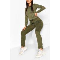 Womens Petite Light Knit Jogger & Crop Lounge Set - Green - 4, Green