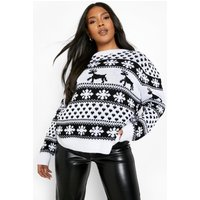 Womens Plus Reindeer And Snowflake Christmas Jumper - White - 22, White