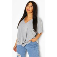 Womens Plus Knot Front Oversized T-Shirt - Grey - 24, Grey