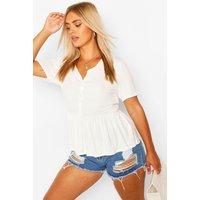 Womens Plus Button Through Short Sleeve Smock Top - White - 18, White
