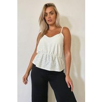 Womens Plus Broderie Anglaise Smock Cami Top - White - 26, White