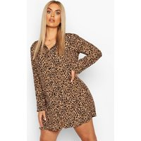 Womens Plus Leopard Print Shirt Dress - Brown - 24, Brown