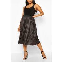 Womens Plus Pleated Pu Midi Skirt - Black - 20, Black