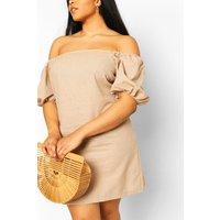 Womens Plus Bardot Linen Shift Dress - Beige - 18, Beige