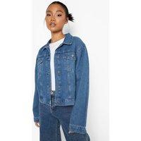 Womens Petite Puff Sleeve Denim Jacket - Blue - 8, Blue