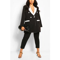 Womens Plus Contrast Detail Longline Blazer - Black - 22, Black