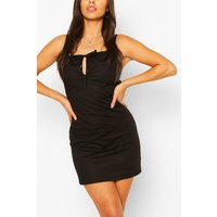 Womens Petite Poplin Tie Detail Mini Dress - Black - 6, Black