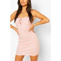 Womens Petite Poplin Tie Detail Mini Dress - Pink - 4, Pink