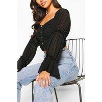 Womens Petite Volume Sleeve Ruched Front Crop Top - Black - 4, Black