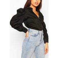 Womens Petite Volume Sleeve Shirred Detail Shirt - Black - 4, Black