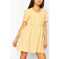 Womens Petite Linen Button Through Smock Dress - Yellow - 14, Yellow