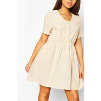 Womens Petite Linen Button Through Smock Dress - Beige - 6, Beige