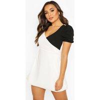 Womens Petite Colour Block Volume Sleeve Mini Dress - White - 4, White
