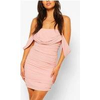 Womens Petite Ruched Bardot Dress - Pink - 6, Pink