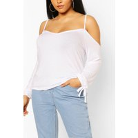 Womens Plus Cold Shoulder Tie Sleeve Top - White - 28, White