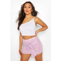Womens Petite Ribbed Tie Front Mini Skirt - Purple - 14, Purple
