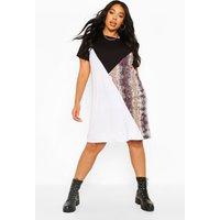 Womens Plus Colour Block Snake T-Shirt Dress - Black - 28, Black