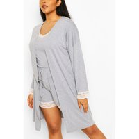 Womens Plus Lace Trim Jersey Dressing Gown - Grey - 22, Grey