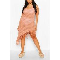 Womens Plus Asymmetric Crochet Beach Dress - Red - 26, Red