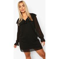 Womens Plus Dobby Chiffon Ruffle Shift Dress - Black - 18, Black
