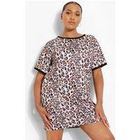 Womens Plus Leopard Ringer T-Shirt Dress - Brown - 16, Brown