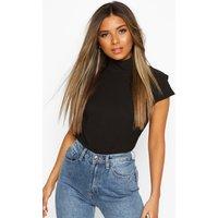 Womens Petite High Neck Cap Sleeve Blouse - Black - 4, Black