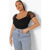 Womens Plus Bardot Twist Front Dobby Mesh Bodysuit - Black - 16, Black