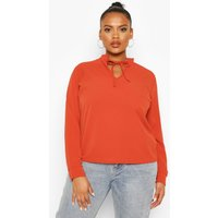 Womens Plus Tie Neck Plunge Blouse - Orange - 24, Orange