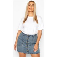 Womens Plus Pocket Detail Vintage Look Denim Skirt - Blue - 16, Blue