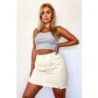 Womens Plus Rip Distressed Ecru Denim Skirt - Cream - 20, Cream