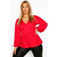 Womens Plus Crepe Blouson Sleeve Peplum Smock Top - Red - 26, Red