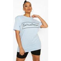 Womens Plus 'Barcelona' Oversized T-Shirt - Blue - 16, Blue