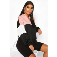 Womens Petite Colour Block Zip Up Sweat Top - pink - 14, Pink