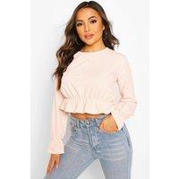 Womens Petite Textured Rib Volume Sleeve Top - Pink - 12, Pink