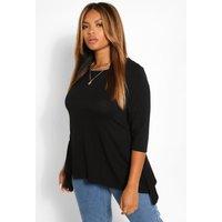 Womens Plus Hanky Hem 3/4 Sleeve T-Shirt - Black - 22, Black