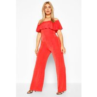 Womens Plus Bardot Ruffle Jumpsuit - Orange - 26, Orange