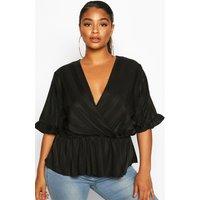 Womens Plus Satin Stripe Wrap Peplum Blouse - Black - 18, Black