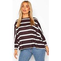 Womens Plus Stripe Batwing Sleeve Top - Black - 18, Black