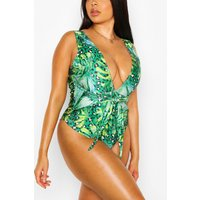 Womens Plus Tropical Print Twist Front Swimsuit - Green - 18, Green