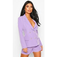 Womens Petite Woven Belted Tailored Shorts - Purple - 4, Purple