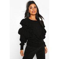 Womens Petite Ruffle Detail Jumper - black - L, Black