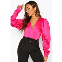 Womens Petite Volume Sleeve Satin Bodysuit - Pink - 4, Pink