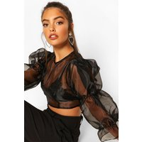 Womens Petite Volume Sleeve Organza Top - Black - 12, Black