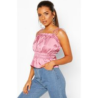 Womens Petite Ruched Waist Satin Top - Pink - 8, Pink