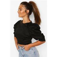 Womens Petite Cotton Poplin Puff Ball Sleeve Top - Black - 10, Black